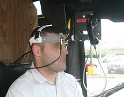 bus driver with camera on head for pedestrian accident reconstruction